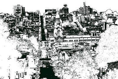Drawing - San Francisco North Beach - Ink by Art America Gallery Peter Potter