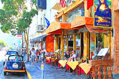 Digital Art - San Francisco North Beach Outdoor Dining by Wingsdomain Art and Photography