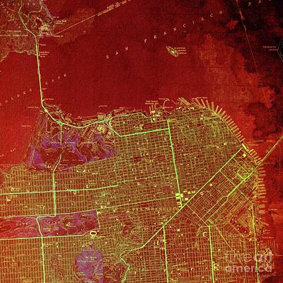Old Map Digital Art - San Francisco North Old Map Year 1947 Red Artwork by Pablo Franchi
