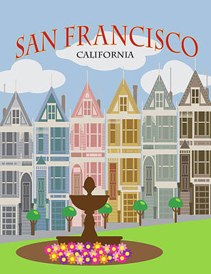 Photograph - San Francisco Painted Ladies Poster Illustration by Jit Lim