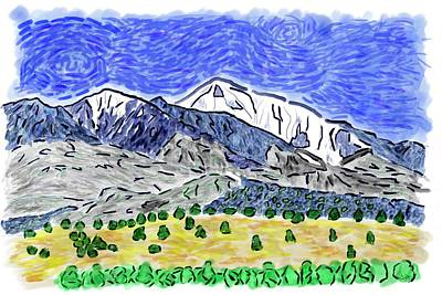 Digital Art - San Francisco Peaks -vg2 by Bruce