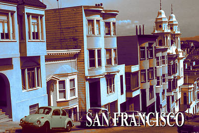 Digital Art - San Francisco Poster - Nob Hill by Art America Gallery Peter Potter