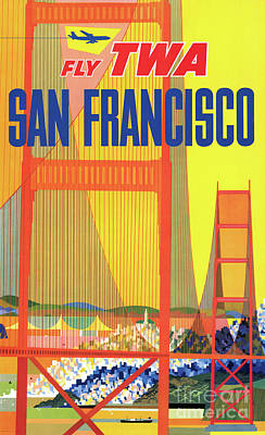 Drawing - San Francisco Restored Vintage Air Travel Poster by Carsten Reisinger