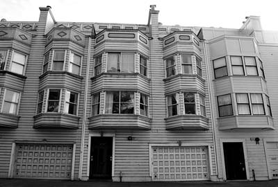 Photograph - San Francisco Row Homes - Black And White by Matt Harang