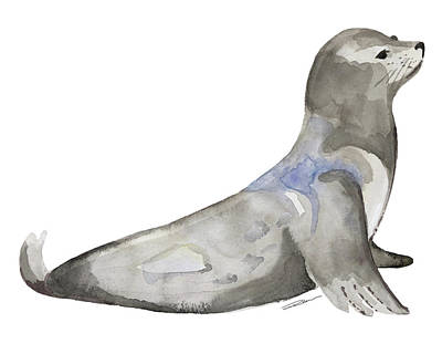 Seals Wall Art - Painting - San Francisco Sea Lion by Roleen Senic