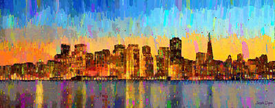 Travel Painting - San Francisco Skyline 10 - Pa by Leonardo Digenio