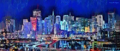Light House Painting - San Francisco Skyline 100 - Pa by Leonardo Digenio