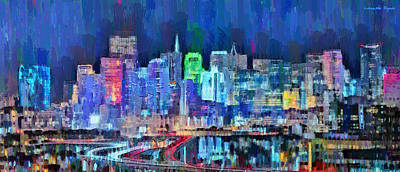 New York Digital Art - San Francisco Skyline 101 - Da by Leonardo Digenio