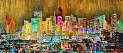 Sea Painting - San Francisco Skyline 102 - Pa by Leonardo Digenio