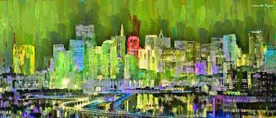 Houses Painting - San Francisco Skyline 103 - Pa by Leonardo Digenio