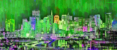 Gate Painting - San Francisco Skyline 104 - Pa by Leonardo Digenio