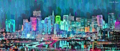 Structures Digital Art - San Francisco Skyline 105 - Da by Leonardo Digenio