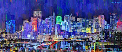 Golden Digital Art - San Francisco Skyline 106 - Da by Leonardo Digenio