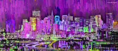 New York Digital Art - San Francisco Skyline 107 - Da by Leonardo Digenio