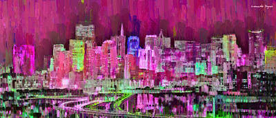 Panorama Digital Art - San Francisco Skyline 108 - Da by Leonardo Digenio