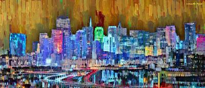 Dusk Digital Art - San Francisco Skyline 110 - Da by Leonardo Digenio