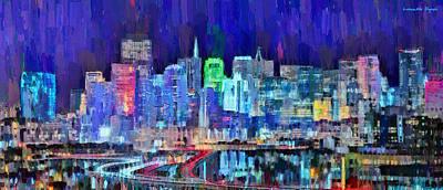 Golden Painting - San Francisco Skyline 111 - Pa by Leonardo Digenio