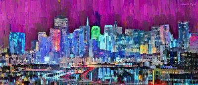 Lake Digital Art - San Francisco Skyline 112 - Da by Leonardo Digenio