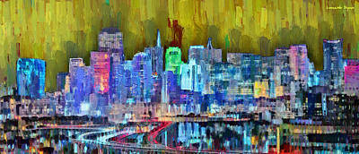 Evening Painting - San Francisco Skyline 114 - Da by Leonardo Digenio