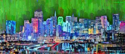 Golden Gate Painting - San Francisco Skyline 116 - Da by Leonardo Digenio