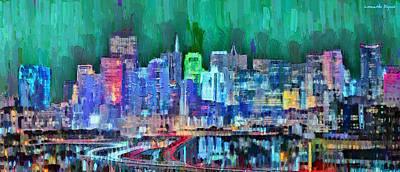 Landmark Painting - San Francisco Skyline 117 - Pa by Leonardo Digenio