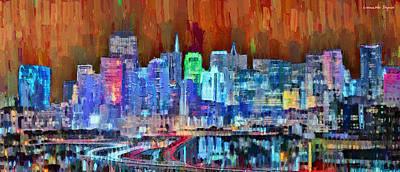 Gate Painting - San Francisco Skyline 118 - Pa by Leonardo Digenio