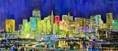 Bridge Painting - San Francisco Skyline 119 - Pa by Leonardo Digenio