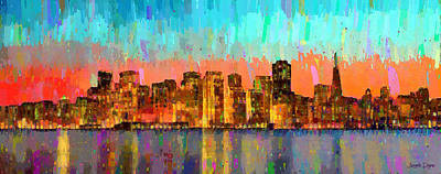 Dusk Painting - San Francisco Skyline 12 - Pa by Leonardo Digenio