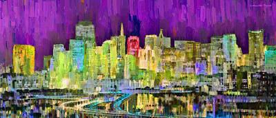 Towers Digital Art - San Francisco Skyline 120 - Da by Leonardo Digenio