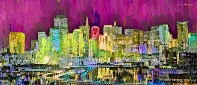 Evening Painting - San Francisco Skyline 121 - Pa by Leonardo Digenio