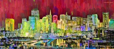 New York City Skyline Painting - San Francisco Skyline 122 - Pa by Leonardo Digenio