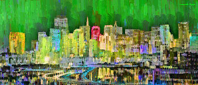 Valleys Painting - San Francisco Skyline 124 - Da by Leonardo Digenio