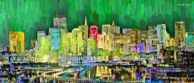 New York Digital Art - San Francisco Skyline 125 - Da by Leonardo Digenio