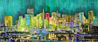 New York City Skyline Digital Art - San Francisco Skyline 126 - Da by Leonardo Digenio