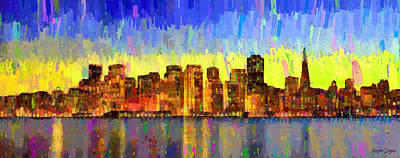 Gate Digital Art - San Francisco Skyline 13 - Da by Leonardo Digenio