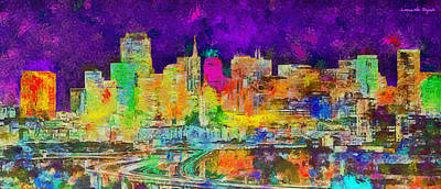 New York Painting - San Francisco Skyline 137 - Pa by Leonardo Digenio
