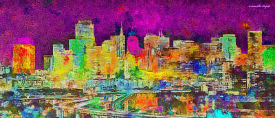 Golden Digital Art - San Francisco Skyline 138 - Pa by Leonardo Digenio