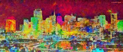 San Francisco Painting - San Francisco Skyline 139 - Pa by Leonardo Digenio