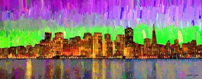 Light Painting - San Francisco Skyline 14 - Pa by Leonardo Digenio