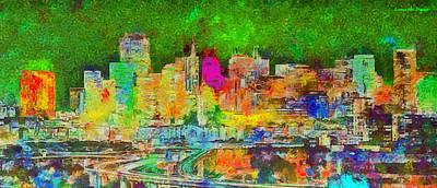 Golden Digital Art - San Francisco Skyline 141 - Da by Leonardo Digenio