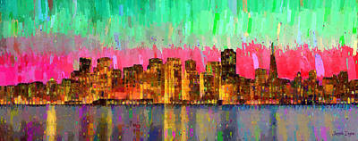 Golden Gate Painting - San Francisco Skyline 16 - Pa by Leonardo Digenio