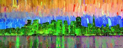 Sunset Painting - San Francisco Skyline 17 - Pa by Leonardo Digenio
