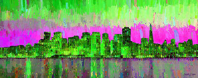 Bay Painting - San Francisco Skyline 18 - Pa by Leonardo Digenio