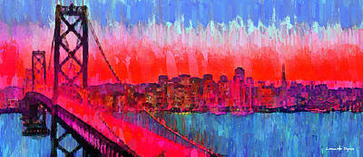 Golden Gate Painting - San Francisco Skyline 51 - Da by Leonardo Digenio