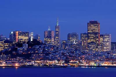 San Francisco Skyline At Dusk Art Print by David Rout