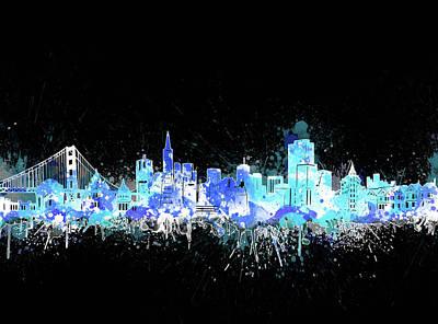 Digital Art - San Francisco Skyline Color Splatter 2 by Bekim Art