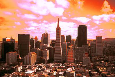 Photograph - San Francisco Skyline - Fiery Sunrise by Peter Potter