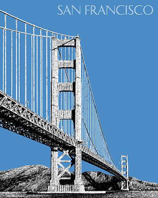 Golden Gate Bridge Digital Art - San Francisco Skyline Golden Gate Bridge 2 - Slate Blue by DB Artist