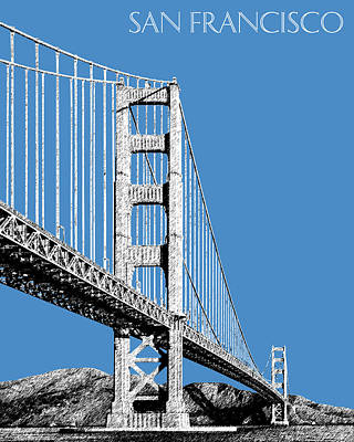 Pen Digital Art - San Francisco Skyline Golden Gate Bridge 2 - Slate Blue by DB Artist