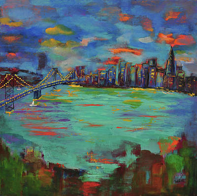 Painting - San Francisco Skyline In Sunset by Haleh Mahbod